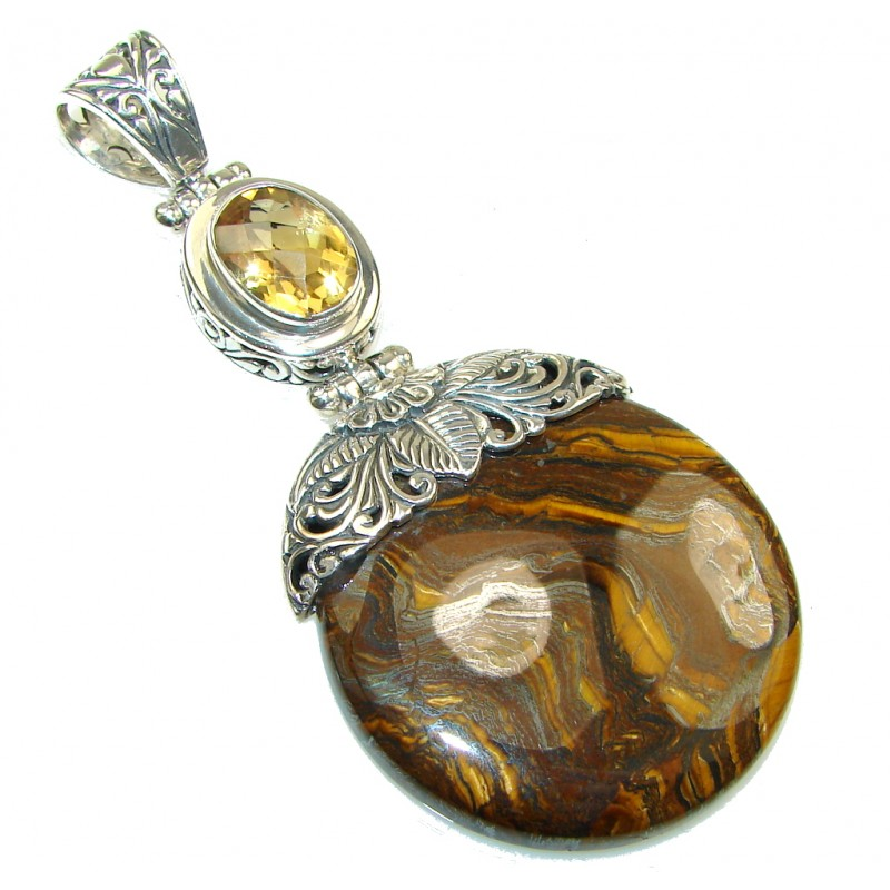 Pale Beauty Golden Tigers Eyes Sterling Silver Pendant