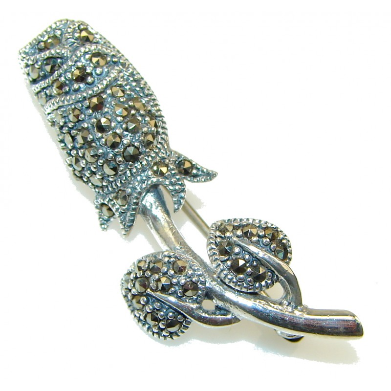 New Design! Marcasite Sterling Silver Pendant / Brooch