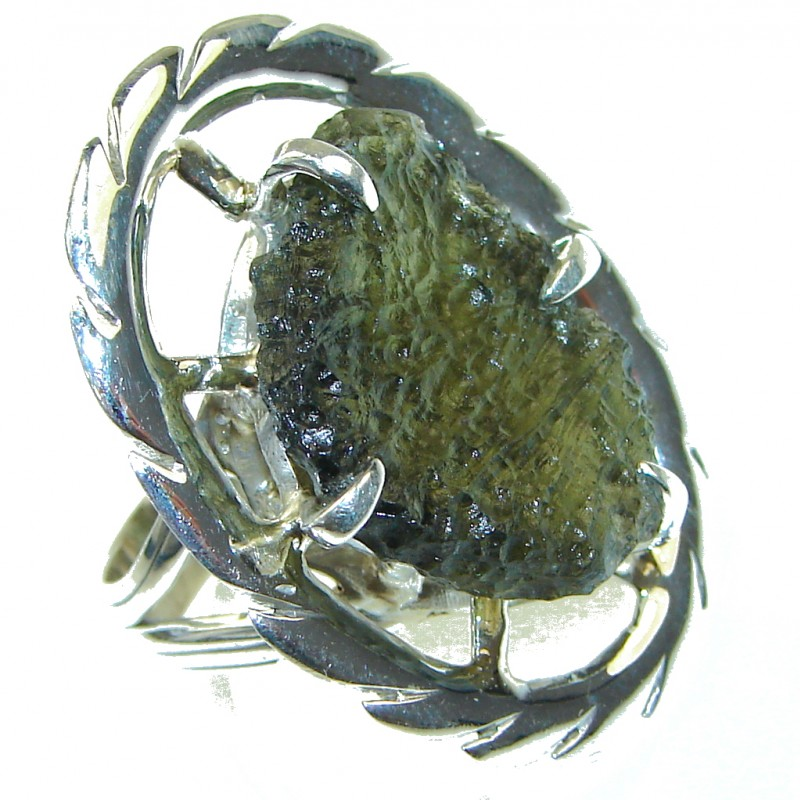 Big! Excellent Green Moldavite Sterling Silver Ring s. 9