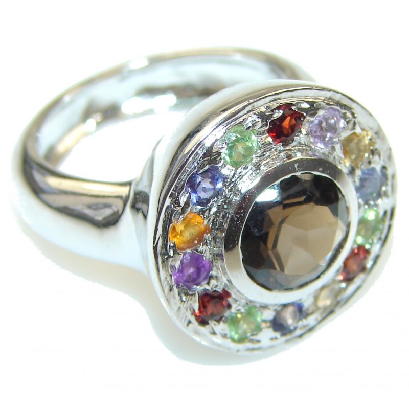 Spirit Of Peace! Brown Smoky Topaz Sterling Silver ring s. 8 1/2