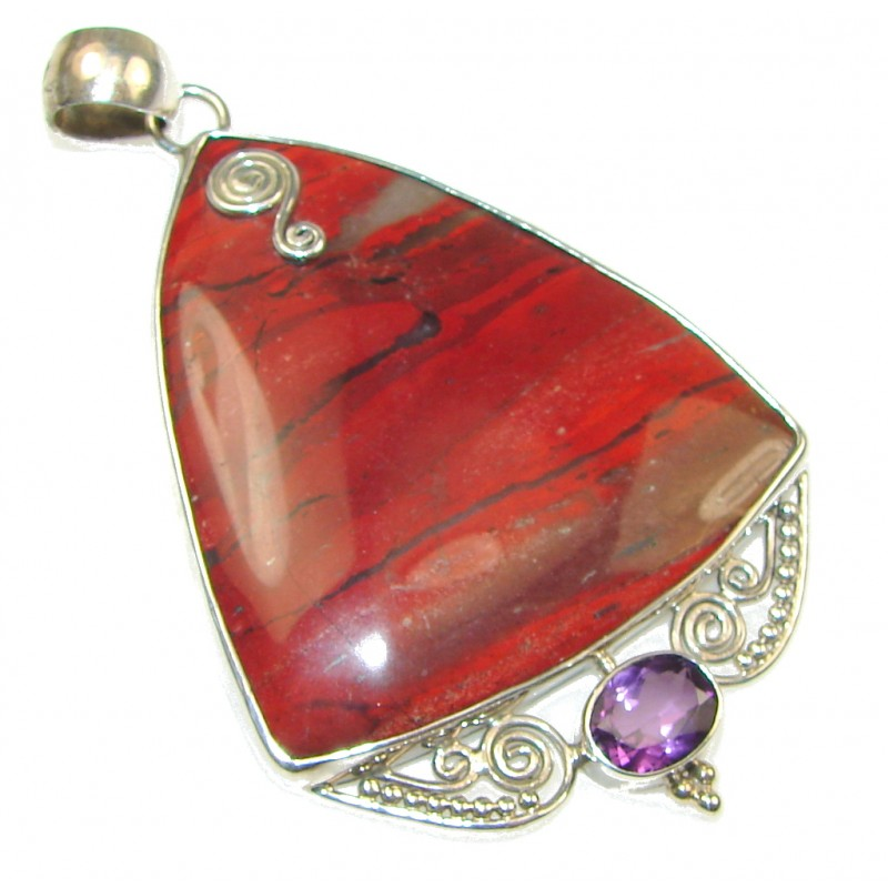 Big! Amazing Red Jasper Sterling Silver Pendant