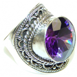 Amazing! Purple Alexandrite Quartz Sterling Silver Ring s.6 1/4