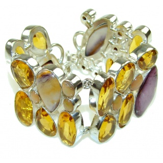 Misty Morning! Yellow Citrine Sterling Silver Bracelet
