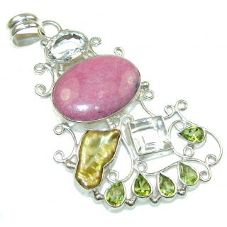 Large! Pale Beauty Pink Rhodonite Sterling Silver Pendant