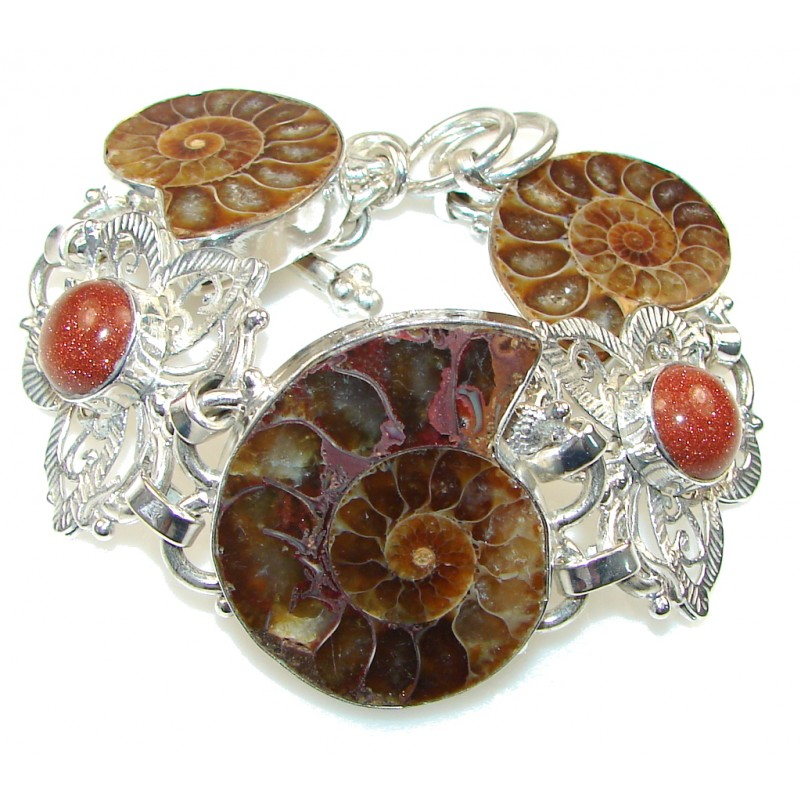 Fashion Design! Brown Ammonite Fossil Silver Overlay Bracelet