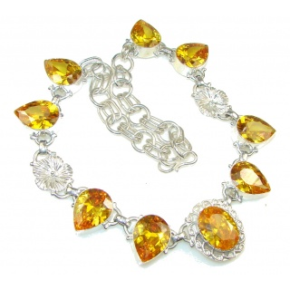 Pale Beauty! Yellow Cubic Zirconia Sterling Silver Necklace