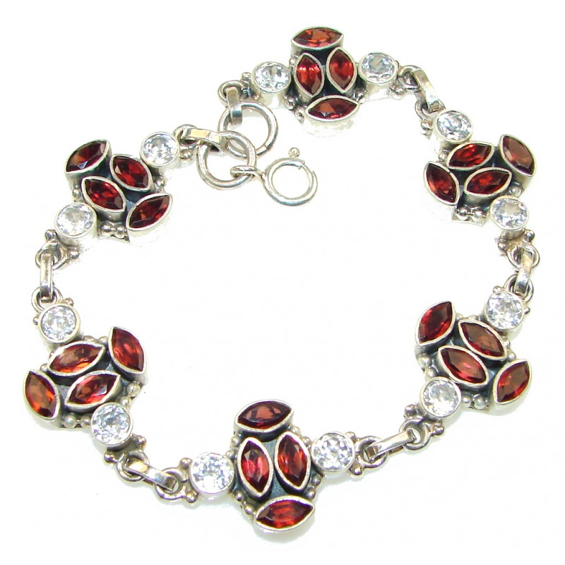 Exclusive! Red Garnet , White Topaz Sterling Silver Bracelet