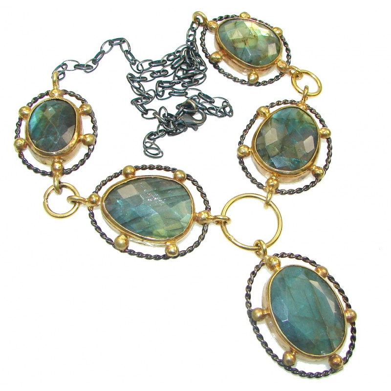 Love Attraction! Blue AAA Labradorite, Rhodium Plated, Gold Plated Sterling Silver necklace