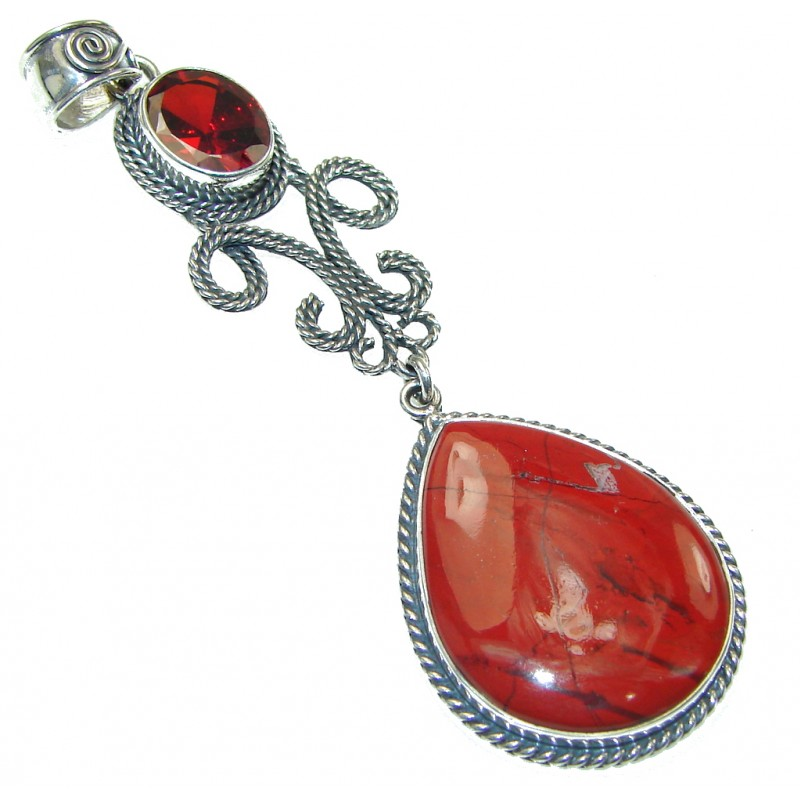 Big! Exotic Red Jasper Sterling Silver Pendant
