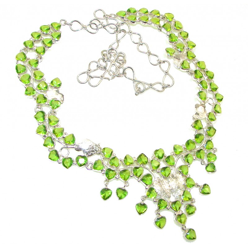 Stunning! Created Green Peridot Sterling Silver Necklace