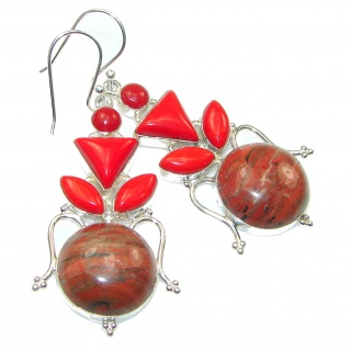 Natural Red Jasper Sterling Silver Earrings
