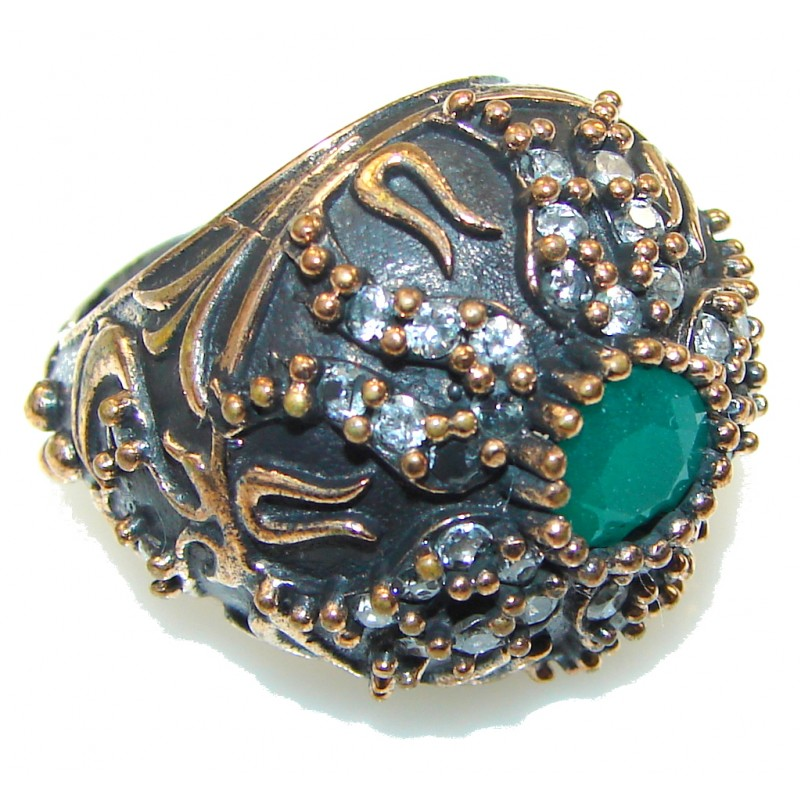 Victorian Style! Green Emerald Sterling Silver ring s. 6 1/4