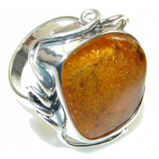 Big! Perfect Polish Amber Sterling Silver Ring s. 8 1/2