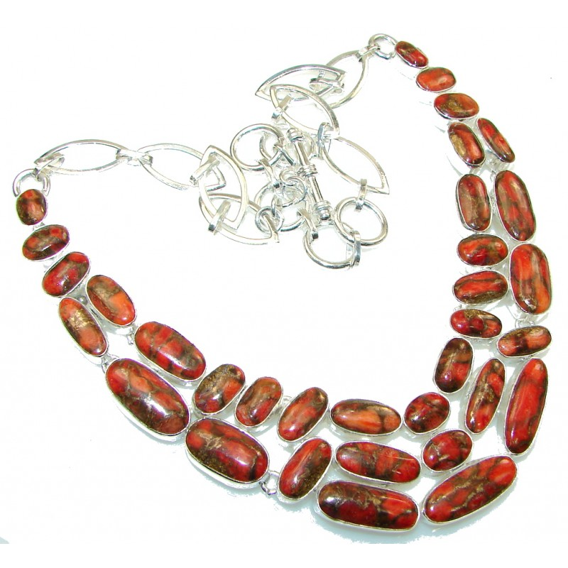Amazing Orange Power Copper Turquoise Sterling Silver Necklace