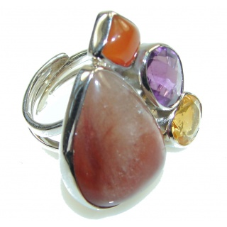Amazing Golden Calcite Sterling Silver Ring s. 7