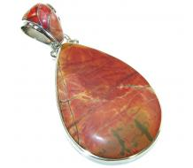 Big! Beautiful Red Creek Jasper Sterling Silver Pendant