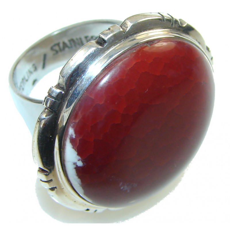 Secret! Mexican Fire Agate Sterling Silver ring s. 7 1/2