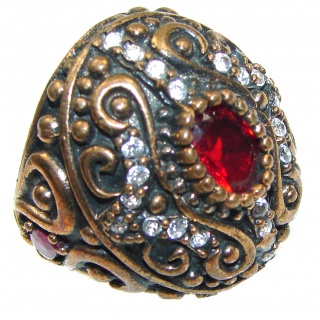 Victorian Style!! Red Garnet Quartz Sterling Silver ring s. 6 1/2