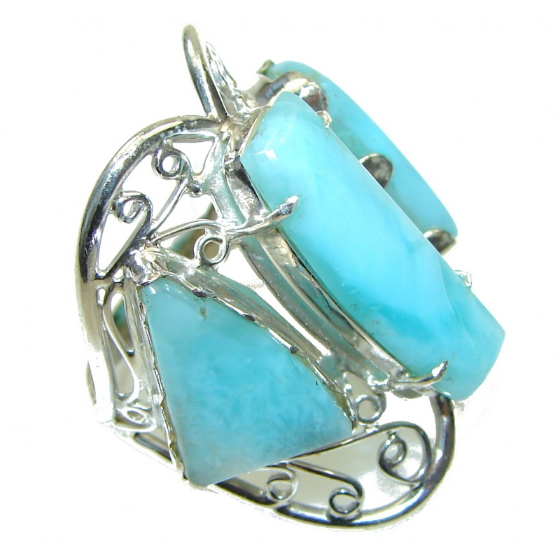 Large! Fashion Blue Larimar Sterling Silver Ring s. 10