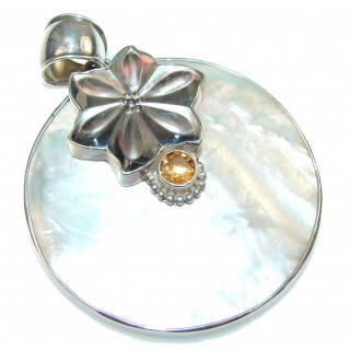 Large! Delicate Blister Pearl Sterling Silver pendant
