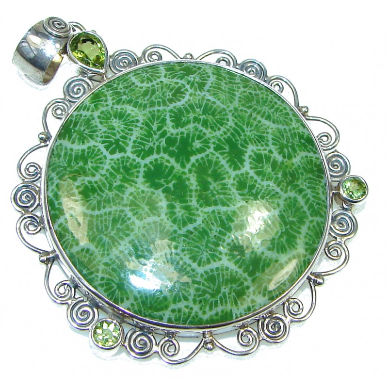 Green Island!! Fossilized Coral Sterling Silver pendant