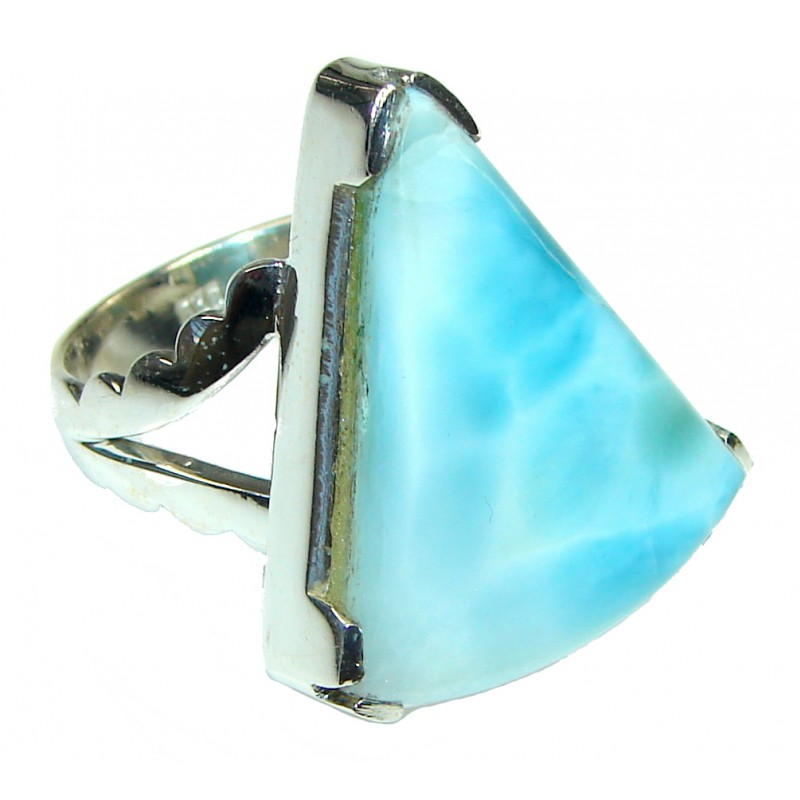 Big! Caribbean Waters! Light Blue Larimar Sterling Silver Ring s. 11