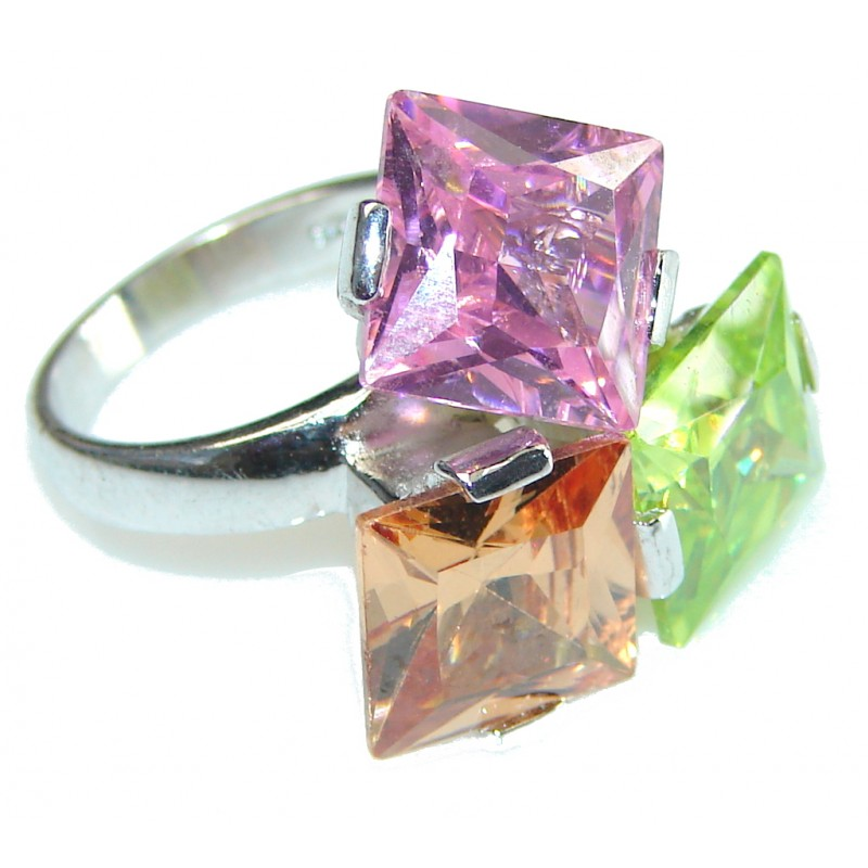 Aura Of Beauty! Multicolor Quartz Sterling Silver ring s. 6 1/2