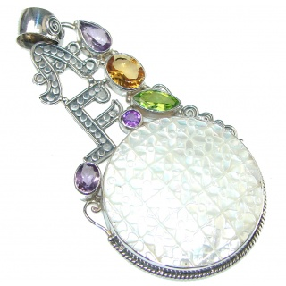 Big! Delicate Blister Pearl Sterling Silver pendant