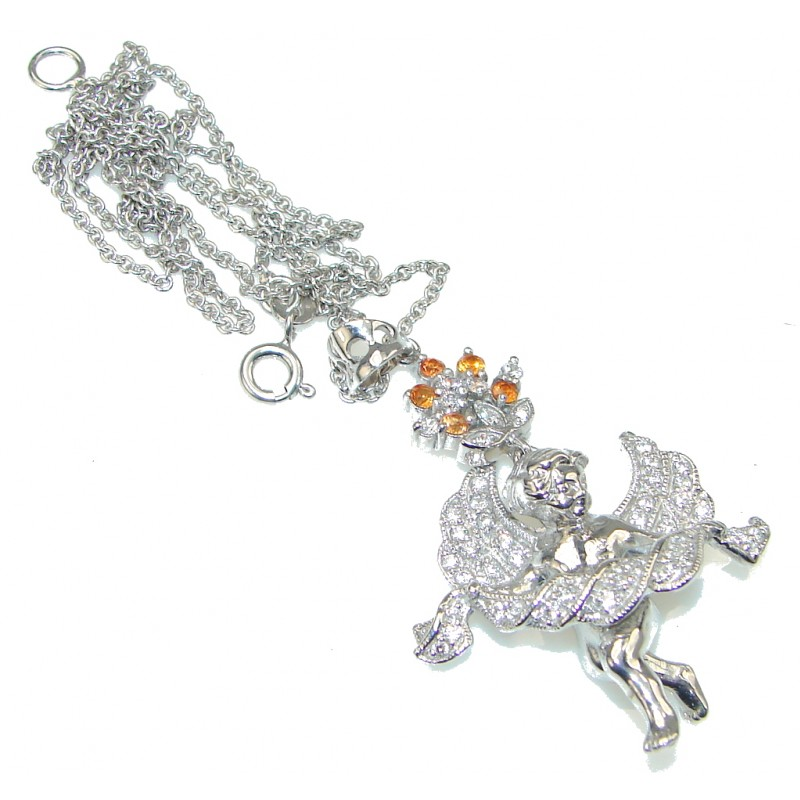 Love and Friendship! Orange Sapphire Sterling Silver necklace