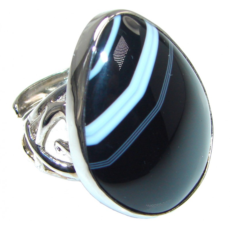 Fantastic Black Botswana Agate Sterling Silver Ring s. 8 adjustable