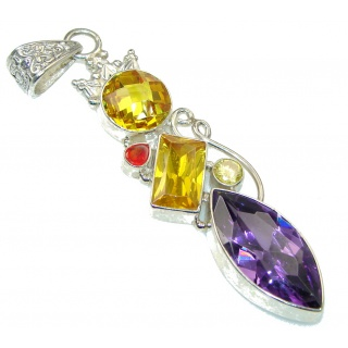 Big! Spark Of Life! Multicolor Quartz Sterling Silver Pendant