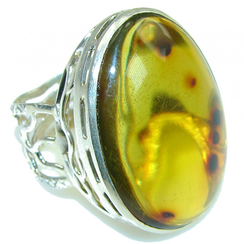 Natural Light Green Baltic Polish Amber Sterling Silver Ring s. 12