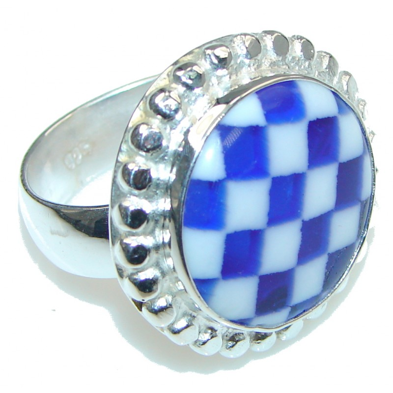 Stylish Blue Glass Silver Overlay Ring s. 11