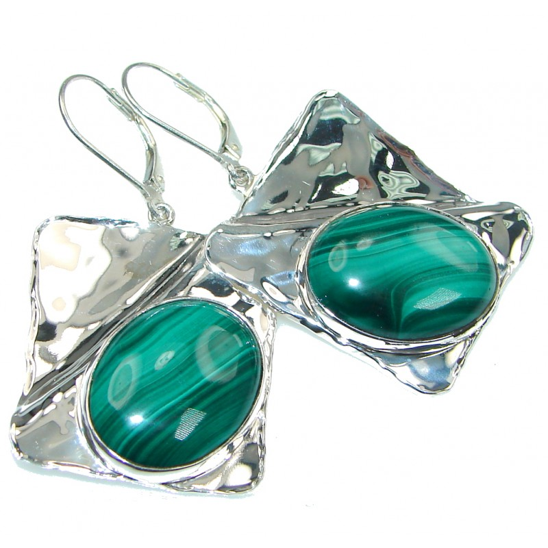 Big! Stunning! Green Malachite Sterling Silver earrings