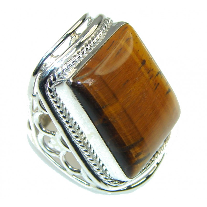 Secret Brown Tigers Eye Sterling Silver Ring s. 6