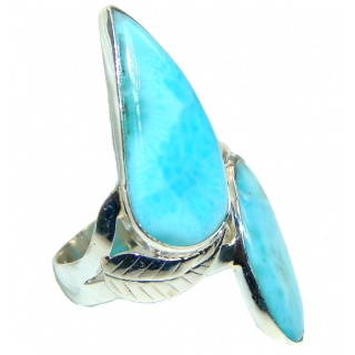 Large! Caribbean Wave Blue Larimar Sterling Silver Ring s. 12