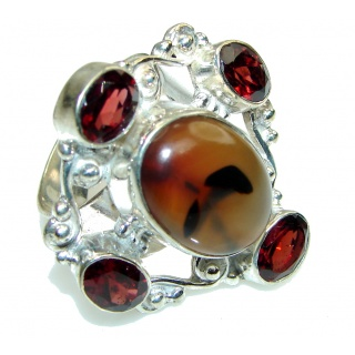 Big! Secret Brown Moss Agate Sterling Silver ring s. 9