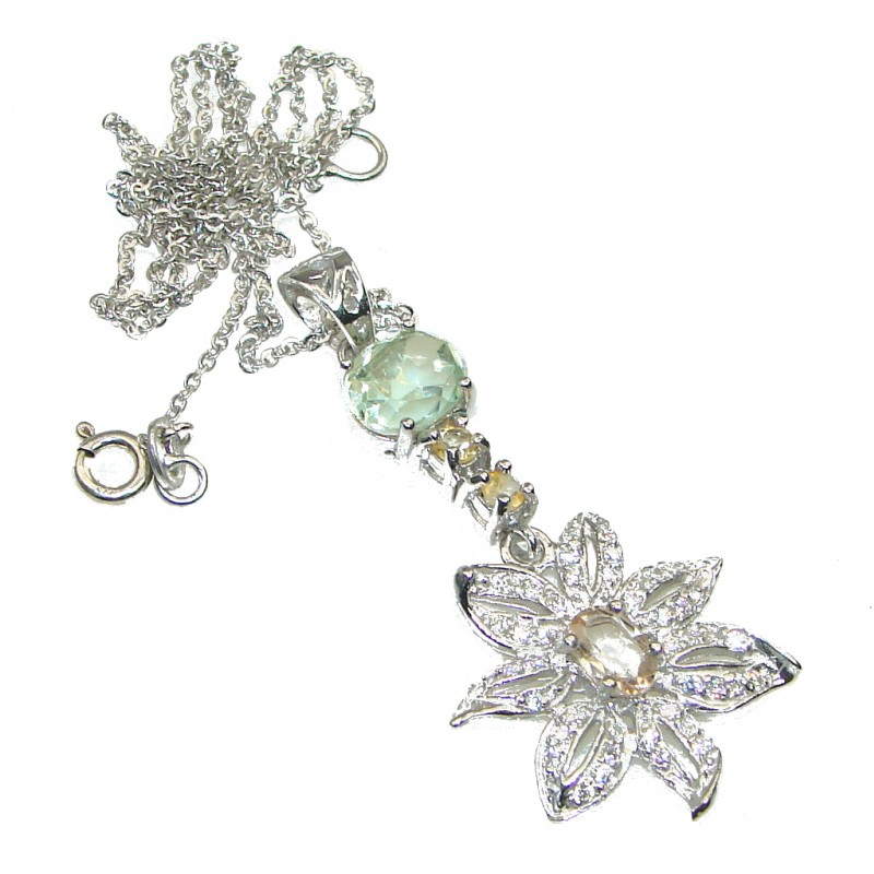 Genuine! Light Green Amethyst, Citrine, White Topaz Sterling Silver necklace