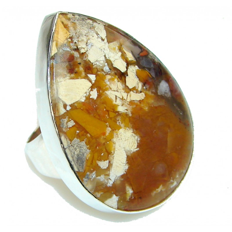 Big! Perfect Brown Burro Creek Jasper Sterling Silver Ring s. 9