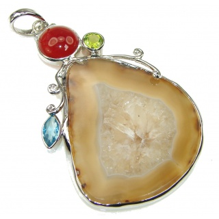 Big! Show Time Brown Agate Sterling Silver Pendant
