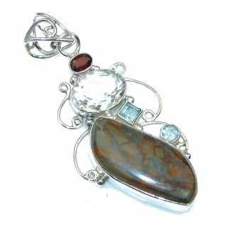 Big! Excellent Brown Montana Agate Sterling Silver Pendant