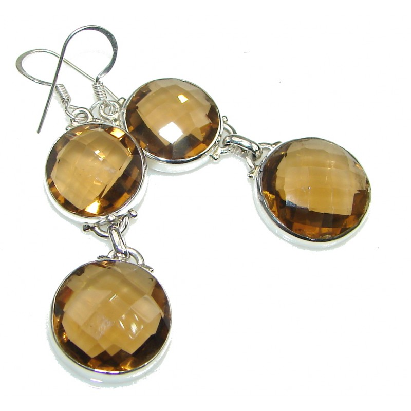 Simple Light Brown Smoky Topaz Sterling Silver earrings