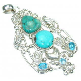 Big! Fresh Water! Blue Turquoise Sterling Silver Pendant