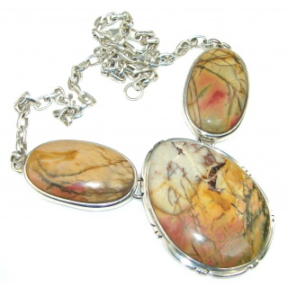 Beautiful! Red Creek Jasper Sterling Silver Necklace