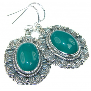 Amazing Green Agate Sterling Silver earrings