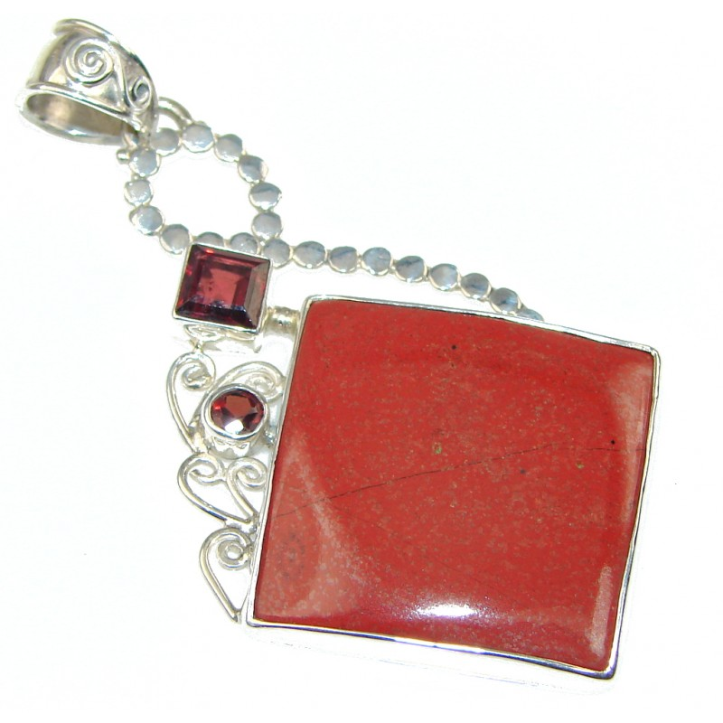 Perfect! Red Jasper Sterling Silver Pendant