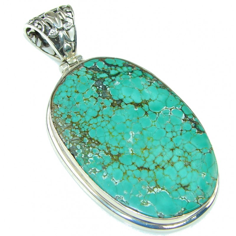 Large! Corrico Lake Green Turquoise Sterling Silver Pendant