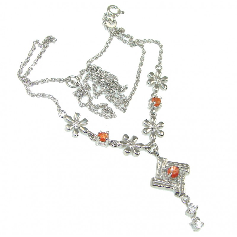 Sunstone and Silver  Statement Necklace