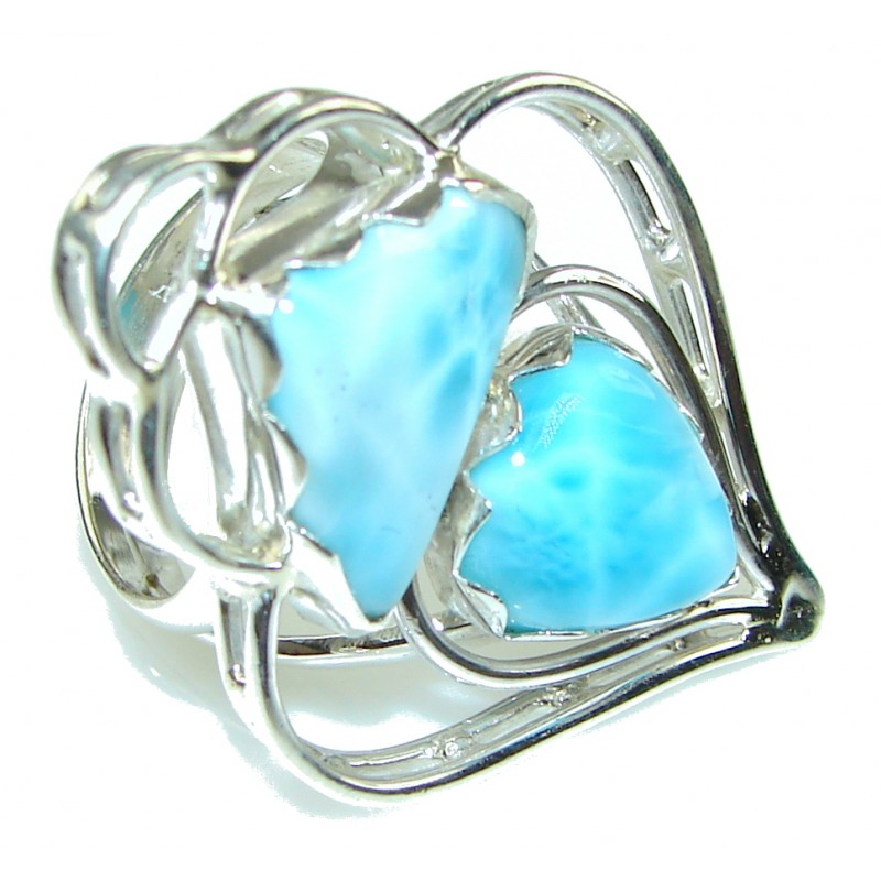 Blue Destiny! Blue Larimar Sterling Silver Ring s. 8