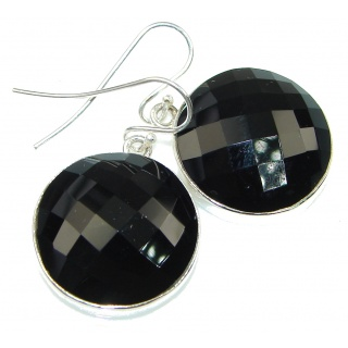 Simple Design! Black Onyx Sterling Silver earrings